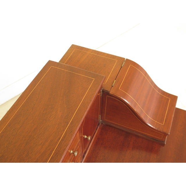 Kittinger 1960s Federal Kittinger Biggs Federal Inlaid Mahogany Ladies Writing Desk For Sale - Image 4 of 13