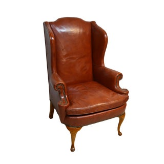 20th Century Chippendale Henredon Mahogany Leather Wingback Chair