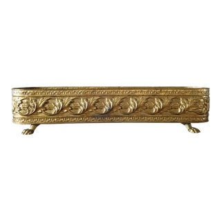 Vintage English Lion Foot Brass Planter For Sale