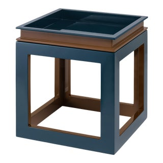 Jeffrey Bilhuber Collection Small Cube Tray Table in Tobacco Leaf Brown / Teal For Sale