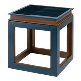 Image of Small Cube Tray Table in Tobacco Leaf Brown / Teal - Jeffrey Bilhuber for The Lacquer Company For Sale