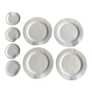 Sin Ceramics Signed Porcelain Plate Set - 8 Pieces For Sale