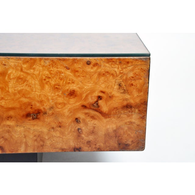 1970s French Burl Wood Table With Two Drawers For Sale - Image 5 of 13