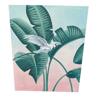 Vintage Palm Beach Coastal Regency Cockatoo and Palm Leaves Painting For Sale