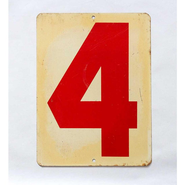 Charming rustic industrial gas station sign, reversible to number 1 or 4.