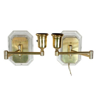 Lucite and Brass Swing Wall Sconces - Pair For Sale