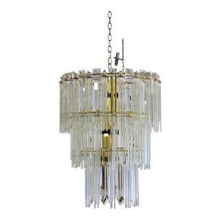 Mid Century Modern Italian Murano Glass & Brass Tiered Chandelier 1970s For Sale