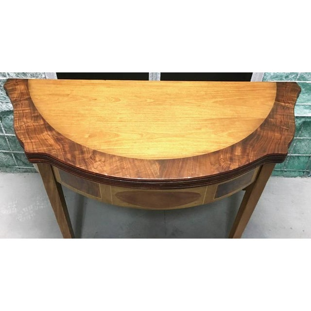 Traditional Demilune Inlay Mahogany Folding Checker Game Table For Sale - Image 3 of 7