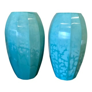 Huge Pair of Robert Kuo Designer Peking Glass Vases