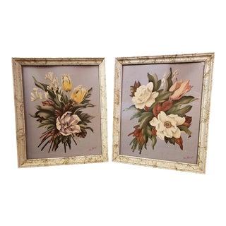Vintage De Jonge Art Deco Wall Art Wood Framed Botanical Flowers Lithograph Prints - a Pair For Sale