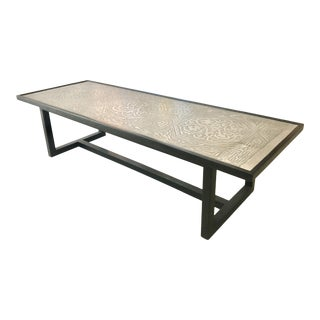Contemporary Coffee Table With Etched Metal Inlay and Ebonized Wood Frame For Sale