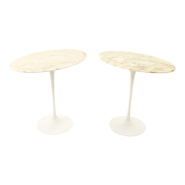 Knoll Mid Century Oval Marble Top Side End Tables With Tulip Base - a Pair For Sale