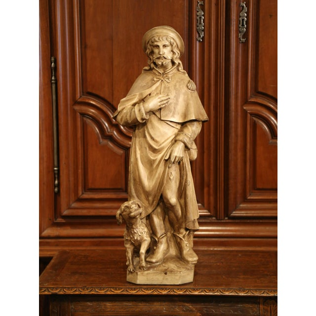 Beige Early 20th Century French Patinated Terracotta Sculpture of Shepherd With Dog For Sale - Image 8 of 8