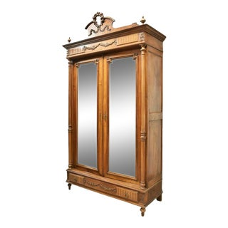 19th Century Antique French Louis XVI Style Walnut Mirrored Armoire For Sale