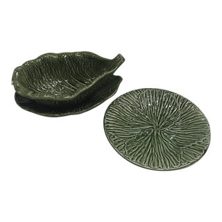 Portuguese Cabbage Leaf Serving Set - Set of 3 For Sale
