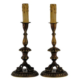 Footed Brass Candlestick Table Lamps For Sale