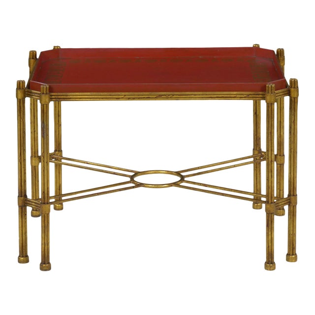 Vintage Gilt Iron Cocktail Table With Red-Painted Wooden Tray, 20th Century For Sale