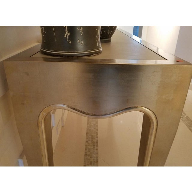 J. Robert Scott Sally Sirkin Lewis Silver Leaf Console Table For Sale In Miami - Image 6 of 11