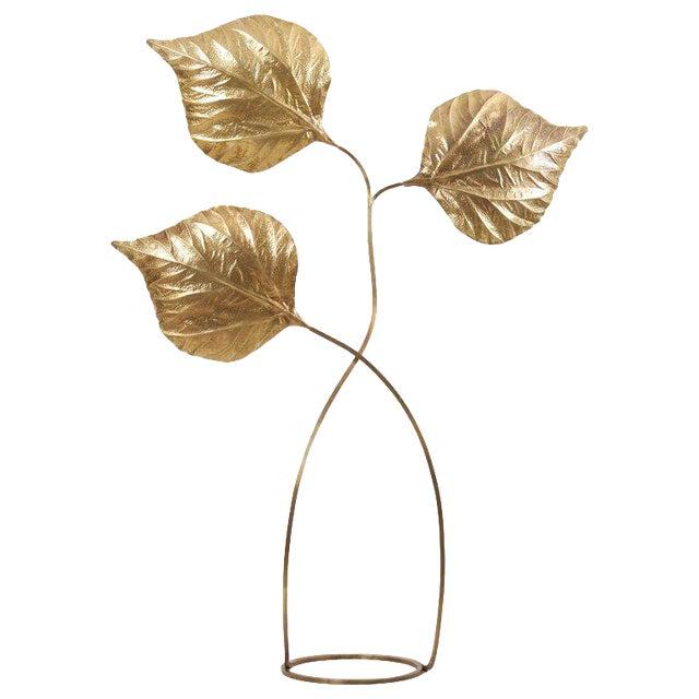 1 of 2 Huge Three Rhubarb Leaves Brass Floor Lamp by Tommaso Barbi For Sale