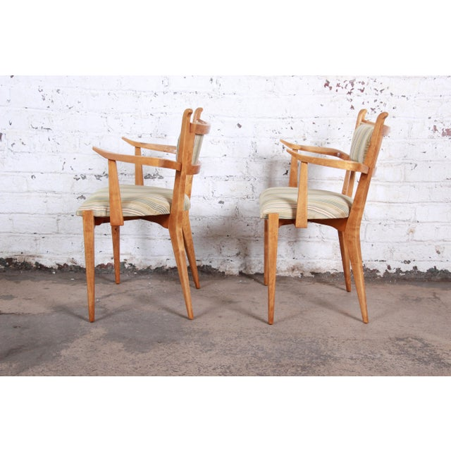 1950s Edmond Spence Swedish Modern Sculpted Tiger Maple Armchairs - a Pair For Sale - Image 5 of 13