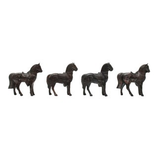 Mini Pot Metal Horse Figurines - Set of 4 For Sale