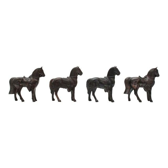 Mini Pot Metal Horse Figurines - Set of 4 For Sale