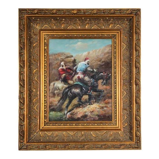 Moorish Orientalist Oil Painting of Men on Horses Framed For Sale
