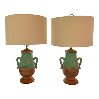 French Terracotta Lamps, a Pair For Sale