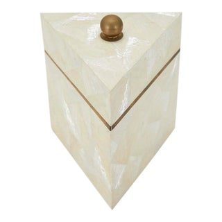1990s Vintage Postmodern Tessellated Stone and Seashell Lidded Box For Sale