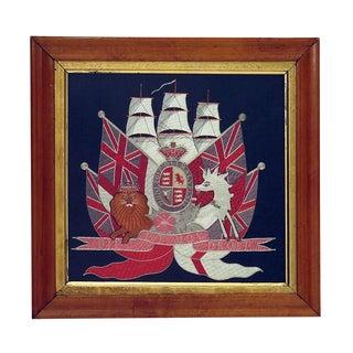 Circa 1880 Embroidered British Ship