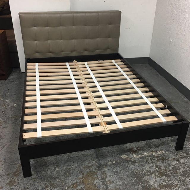 West Elm West Elm Low Grid Leather Queen Sized Platform Bed For Sale - Image 4 of 11
