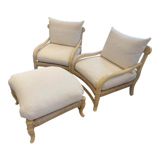 Kreiss Pair of Arm Chairs Plus Ottoman From the Corniche Collection For Sale