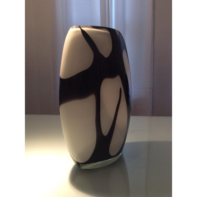 Murano Style Black and White Italian Glass Vase For Sale - Image 5 of 8