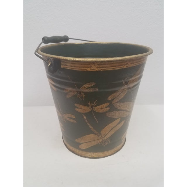 English Antique Dark Green Bucket / Pail With Decoupage Dragonflies - Found in Southern England For Sale - Image 9 of 9