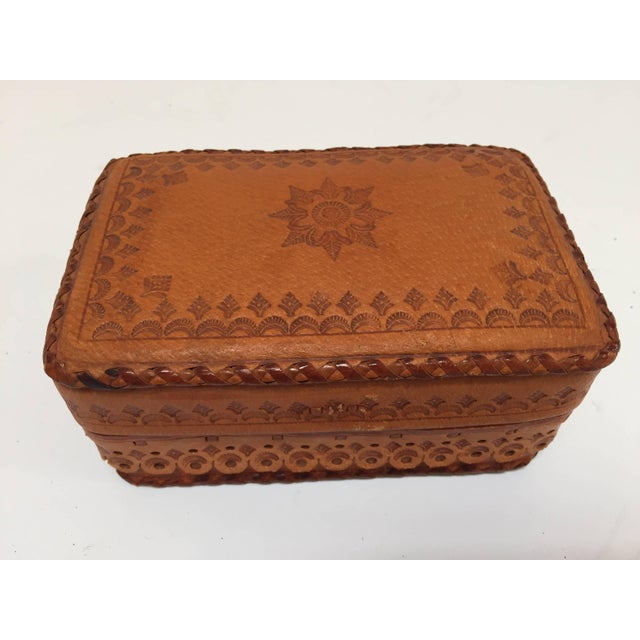 Mid 20th Century Leather Vintage Brown Box Hand Tooled in Morocco With Tribal African Designs For Sale - Image 5 of 13