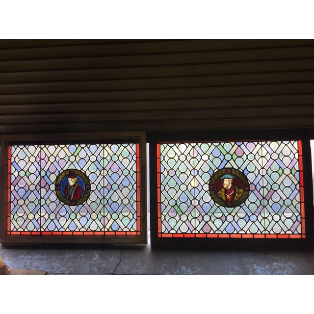 Antique Gothic Stained Glass Panels- a Pair For Sale - Image 12 of 12