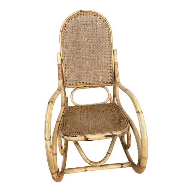 Vintage Mid Century Modern Tiki Bent Bamboo Wood Rocking Chair For Sale
