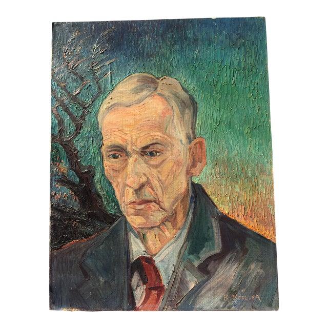 Mid-Century Portrait Painting - Image 1 of 4