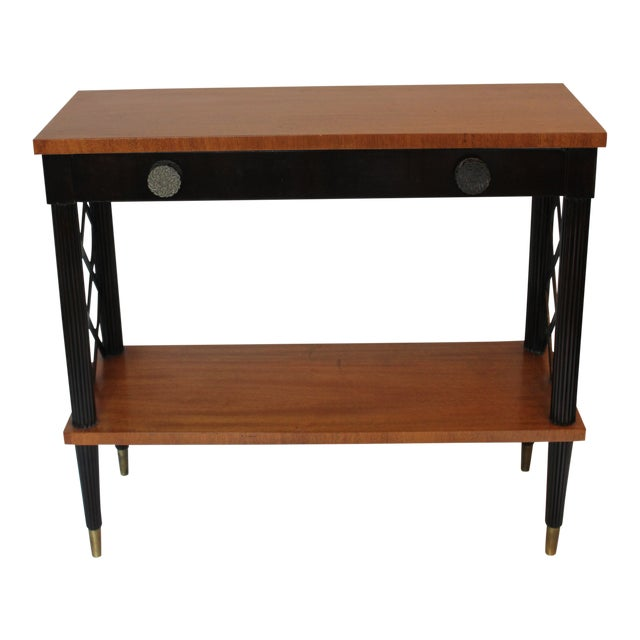 1940s Vintage Lattice Side and Reeded Leg Mahogany Console Table For Sale