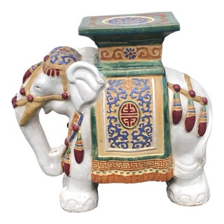 Mid-Century Vintage Glazed Elephant Garden Stool For Sale