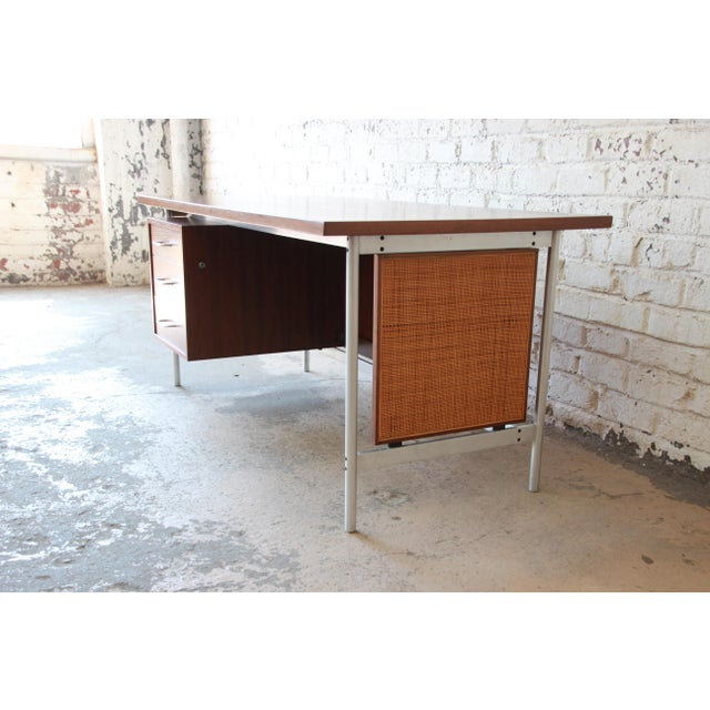 Contemporary Jens Risom Mid-Century Modern Executive Desk in Walnut, Cane, and Steel For Sale - Image 3 of 13