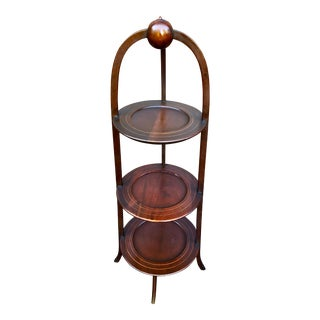 19th Century Regency Three Tiered Mahogany Muffin Stand For Sale