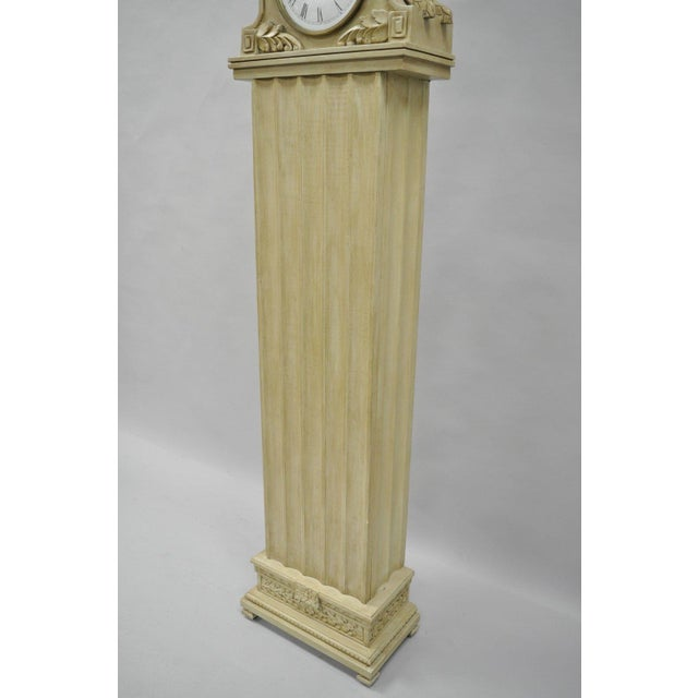 French Regency Empire Style Cream Painted Grandfather Case Standing Clock For Sale - Image 9 of 13