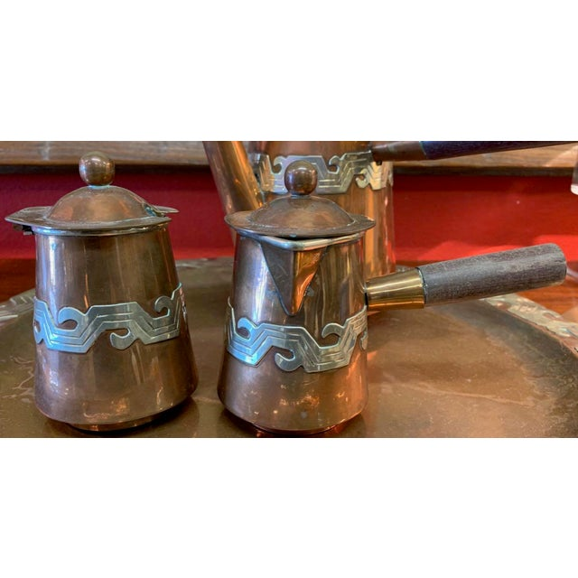 Mid 20th Century Artisanias Mexico Copper & Silver Coffee Set of 4 For Sale - Image 5 of 13