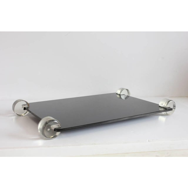 1950s Vintage Mid-Century Black Glass and Lucite Tray For Sale - Image 5 of 6