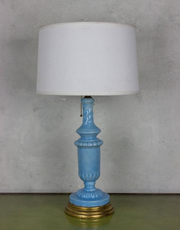 European Periwinkle Blue Ceramic Table Lamp With Giltwood Base   Image 7 Of  8