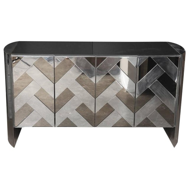 Modern Vintage Ello Chrome, Smoked Glass and Mirror Credenza or Sideboard - Image 1 of 8
