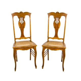 1940s Country Cane Seat and Carved Wooden Chairs - a Pair For Sale