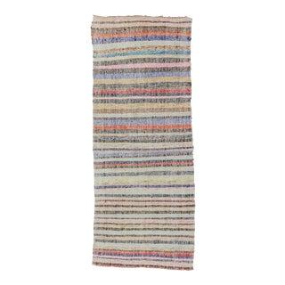 Vintage Striped Colorful Turkish Rag Runner Rug - 3′9″ × 9′9″ For Sale