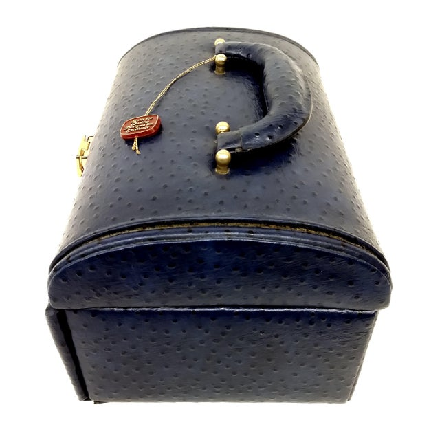 Blue Vintage Ostrich Leather Jewelry Travel Case For Sale - Image 8 of 10